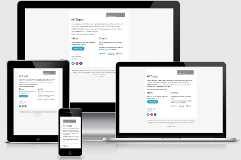 Screenshot of what HTML email template looks like on different devices.