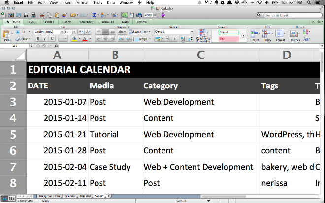 Here's a look at my editorial calendar. A constant work in progress.