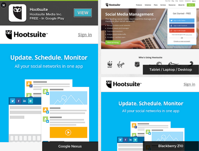 Hootsuite on mobile devices